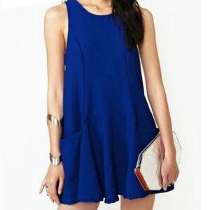 Nasty Gal Blue Crepe Babydoll Pocket Swing Dress